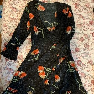Rose and Black A-Line Wrap Dress